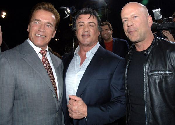 Arnold Schwarzenegger, Sylvester Stallone and Bruce Willis