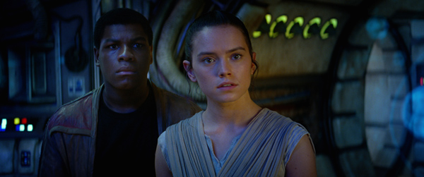 Star Wars: The Force Awakens L to R: Finn (John Boyega) and Rey (Daisy Ridley) Ph: Film Frame © 2014 Lucasfilm Ltd. & TM. All Right Reserved..